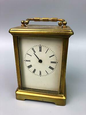 Antique France Beveled Glass Brass Carriage Mantle Clock