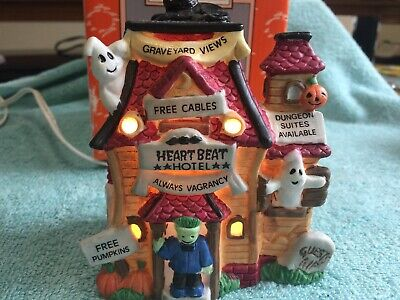 Halloween Heart Beat Hotel Porcelain Lighted House