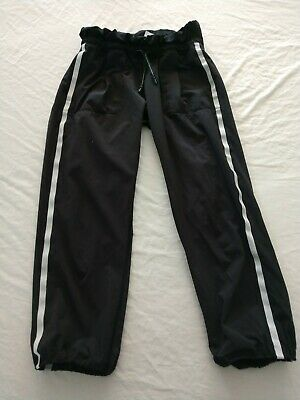 Iviva 12 Pants By Lululemon Girls Black White Loose Fit Athletic Track Bottoms