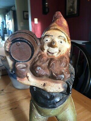 Antique CAST IRON GNOME DOORSTOP GARDEN STATUE CARRYING KEG Barrel RARE Hubley