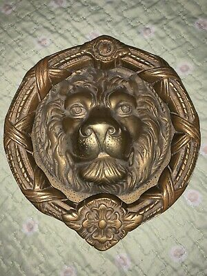 "Antique/Vintage Massive Heavy Lion Head Door Knocker 8"" Solid Brass"