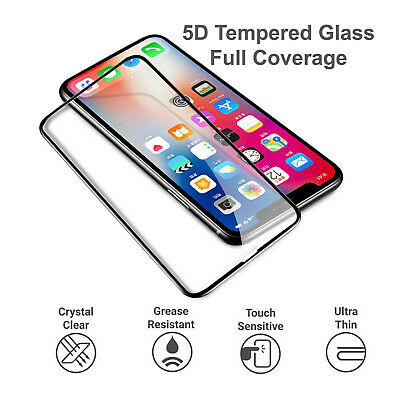 5D Premium Full Glue Tempered Glass Screen Protector For iPhone X XS Max XR XS