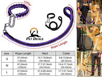 Extra Strong Reflective Rope Dog Lead with Round Security Handle Leash 3 Sizes