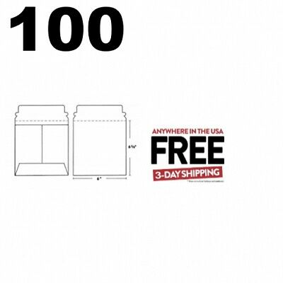 100 CD/DVD White Cardboard Mailers Self Seal Mailers /w Flap (6 x 6 3/8) **2 DAY