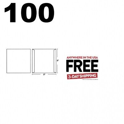 100 CD/DVD White Cardboard Jackets Cover NO FLAP (5 x 5) **2 DAY AIR
