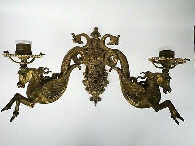 French Bronze  Horse Empire Style Wall Sconce Chandelier