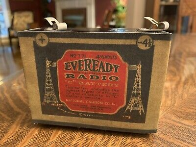 "Antique Refillable Eveready ""C"" Dry Cell 4.5 Volt Battery Radio"