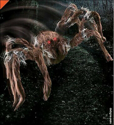 "21"" Halloween Brown Hairy Jumping Spider Animatronics Haunted Props Decorations"