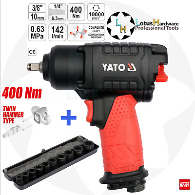 "Air Impact Wrench 400 Nm 3/8"" Twin Hammer Type YT-09501 + Impact Socket Set 3/8"""