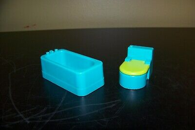 Vintage Fisher Price Little People 725 Bathroom - Bathtub & Toilet