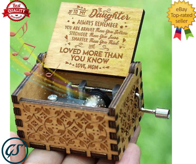 Wooden Music Box Mom To Daughter -You Are My -Sunshine Engraved Toy Kid Best