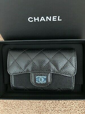 New Auth CHANEL Black Small Caviar Wallet Card Case With Gold Hardware