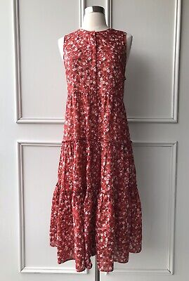 country road :ditsy floral print tiered dress red size: 12.14.16 NEW $159 M.L.XL
