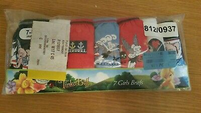 BNWT 7 Pairs Girls Pants/Knickers Disney Tinkerbell  7-8 Years