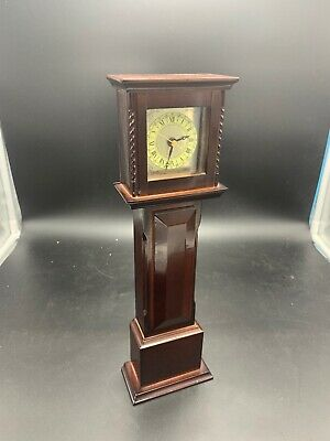 "Vintage Bombay Mini Grandfather Clock 1991 All Wood 13"" Tall TOKEI QUARTZ MOVE."