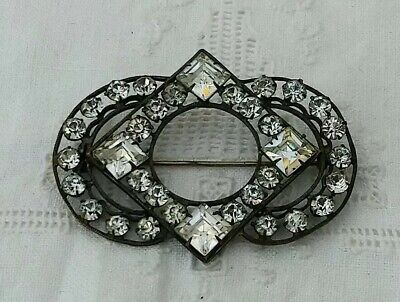 Large Antique Deco Clear Paste Brooch Pin Vintage 20s 1930s Arts Crafts Old