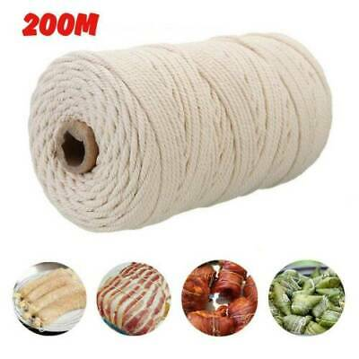 200m 3mm Macrame Rope Natural Beige Cotton Twisted Cord Artisan Hand Craft