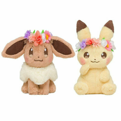 2019 New Pokemon Center Easter Eevee Pikachu plush toy With Flower Crown Kawaii
