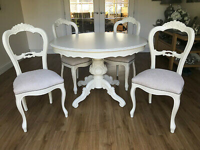 Refurbished French style Shabby Chic 48 inch round table & four chairs