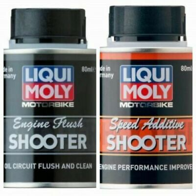 Liqui Moly Motorcycle Speed Additive Shooter and Engine Flush Shooter 80ml