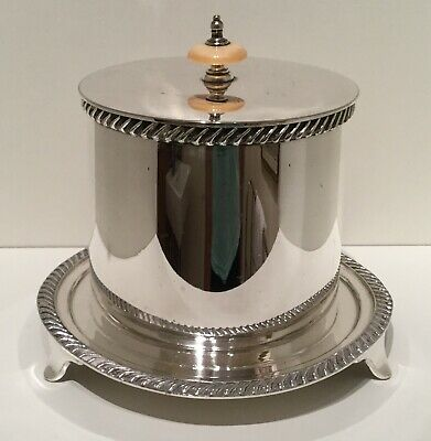Good Quality Antique Silver Plated EPNS Biscuit Barrel by Walker & Hall