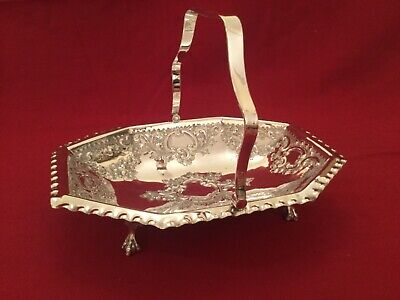 Edwardian Quality Swivel Handled Footed Silver Plated EPNS Cake or Bread Basket