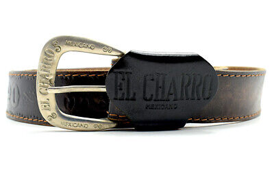 Vintage Handmade Mexican El Charo Mens Real Leather Belt Brown Size 40