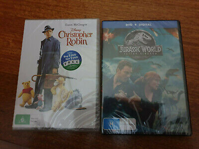 Jurassic World Fallen Kingdom and Christopher Robin DVD - Brand New Sealed