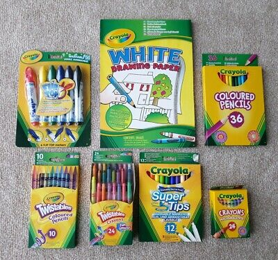 Crayola Stationery Bundle Set Pencils Markers Crayons Drawing Pad Super Tips New