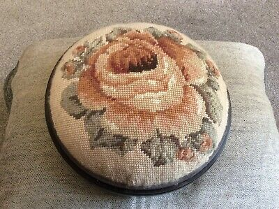 Small Round Victorian Footstool With Tapestry Top And Mahogany Frame