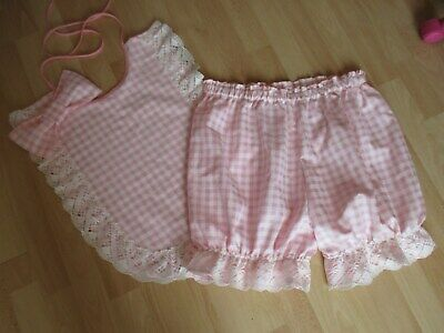 Adult baby pink gingham cotton Knickers and Bib set AB-DL- CD - TV sissy panties
