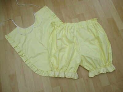 Adult baby yellow cotton Knickers and Bib set AB -DL - CD - TV sissy panties
