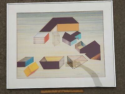 1976 Original Abstract Modern Collage Drawing Art Signed Framed