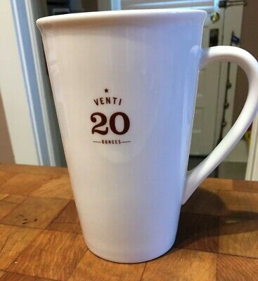 2010 Starbucks Coffee Co  VENTI 20 oz Mug Cup White Bone China