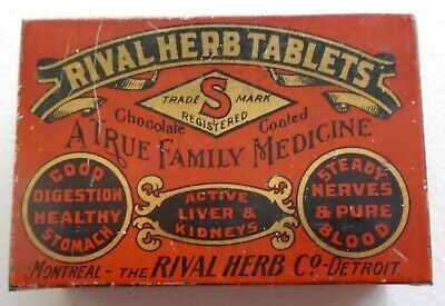 "Vintage Rival Herb Tablets Quack Medicine Advertising Tin ""Cool""  Vgc"