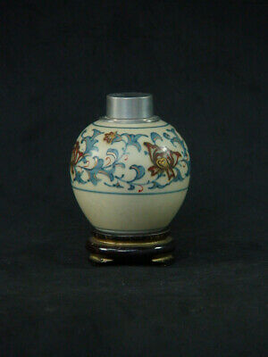 Japanese Chinese Old Antique Tea Caddy with Pewter Lid
