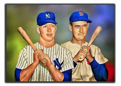 Aceo Ted Williams-Mantle Brs 17/20 Art Sketch Card Limited Print Artist Signed