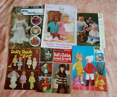 Six Vintage Teddy Bears & Dolls Knitting Patterns (various Dolls including Sindy