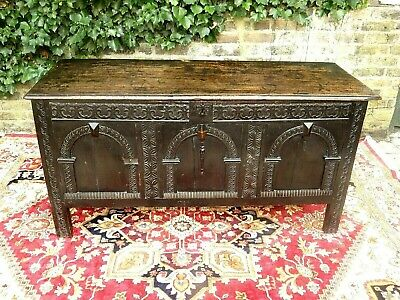 GENUINE 17th CENTURY CARVED OAK COFFER TRUNK CHEST STORAGE FOR A NURSES CHARITY