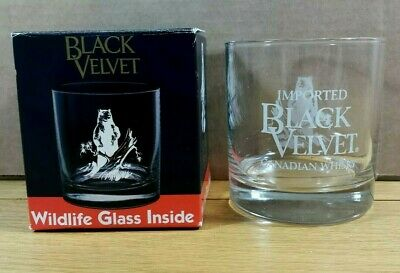 BLACK VELVET Canadian Whisky Wildlife Bear Whiskey Rocks Glass In Original Box