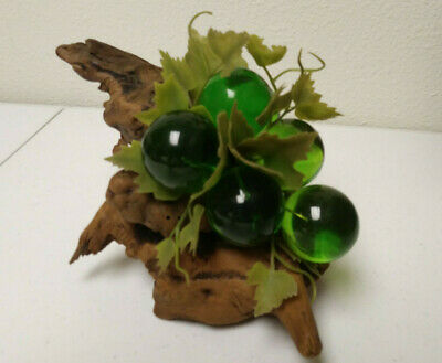"""Large Vintage Mid Century Lucite Acrylic Green Grape Cluster on Driftwood -8.5"""""""