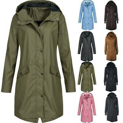 Womens Waterproof Windproof Jacket Parka Hooded Outdoor Long Rain Coat Plus Size