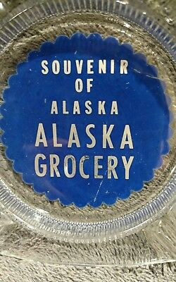 "Souvenir Of Alaska Grocery 4"" Square Glass Advertising Ashtray Blue Painted"