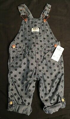 Oshkosh B'Gosh Polka Dot Cotton Blue Vestbak Bib Overalls Size 12M  NWT