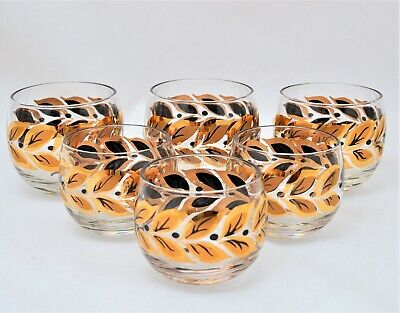 Vintage Roly Poly Glass Tumblers Gold Black Leaves 2 Sizes Set Of 6