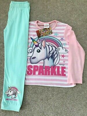 Girls Unicorn EMOJI Pyjamas Teenager Smiley Face Sparkle Long Sleeve 10-11yr NEW