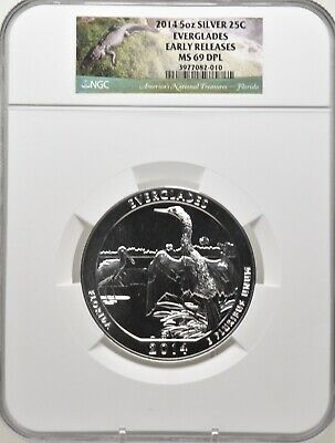 2014 5oz SILVER 25C Everglades NGC MS 69DPL Early Releases must see!