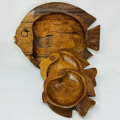 3 Vintage Hand Carved Nesting Trays Teak Wood Serving Dish Mid Century Art Fish