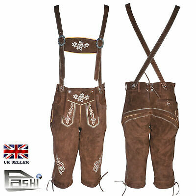 Bundhosen Leather Mens German Shorts Trachten Oktoberfest Beerfest Uk 32""