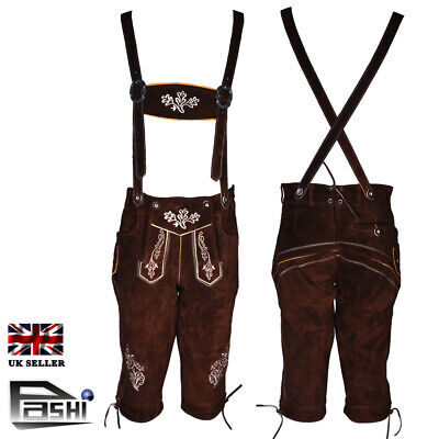 "lederhosen Kniebundhosen High Quality trachten UK WAIST 34"" Knee length"
